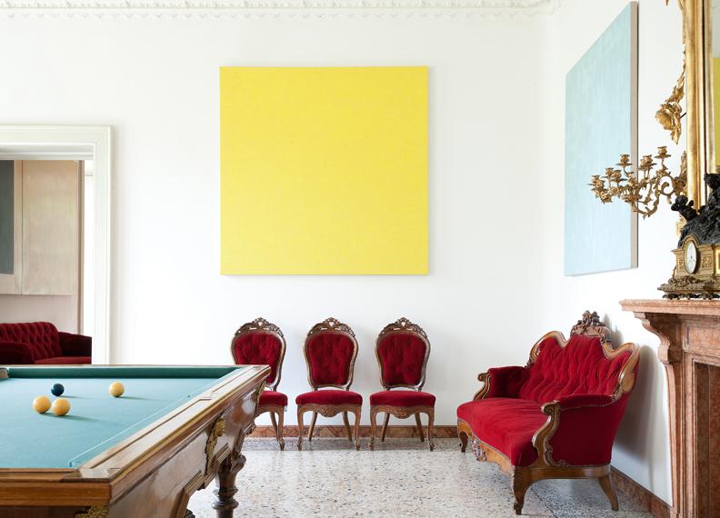 Villa and Collection Panza, billiard room with works by Phil Sims (sala del biliardo con opere di Phil Sims). Photo: Arenaimmagini.it, 2013 © FAI - Fondo Ambiente Italiano