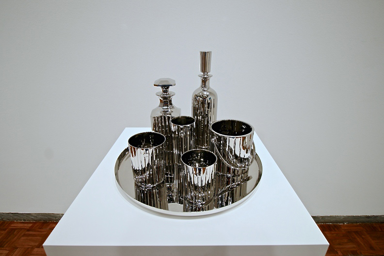 Baccarat Crystal Set, 1986 Stainless steel, 12 1/2 x 16 x 16 in. (31.8 x 40.6 x 40.6 cm), Artist's proof, Collection of B. Z. and Michael Schwartz. Photo: © Corrado Serra