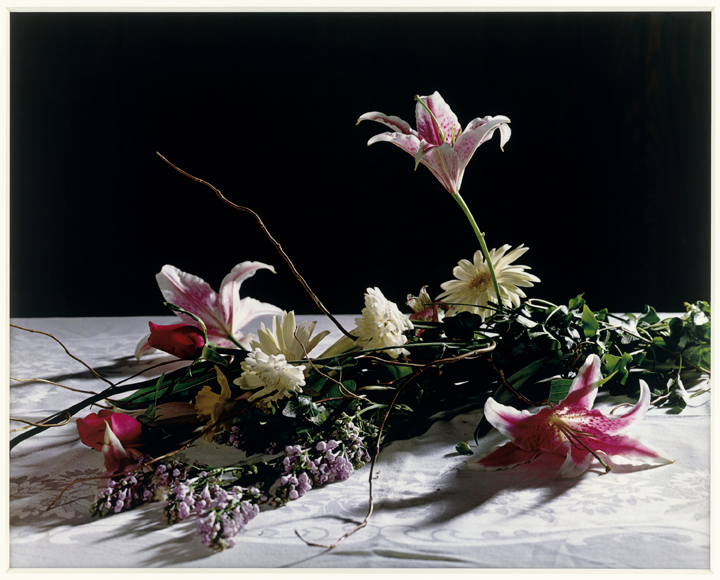 Christopher Williams (American, born 1956). Bouquet for Bas Jan Ader and Christopher D'Arcangelo. 1991. Archival corrugated board, archival photo corners, compound, 4-ply Conservamat, 8-ply Conservamat, drywall, dye transfer print, glass, lacquer-based finish, linen tape, nails, Northern maple, plastic setback strips, primer, screws, seaming tape, paint, and wood. Overall: 120 x 180 x 6 3/4″ (304.8 x 457.2 x 17.1 cm). Lorrin and Deane Wong Family Trust, Los Angeles © Christopher Williams