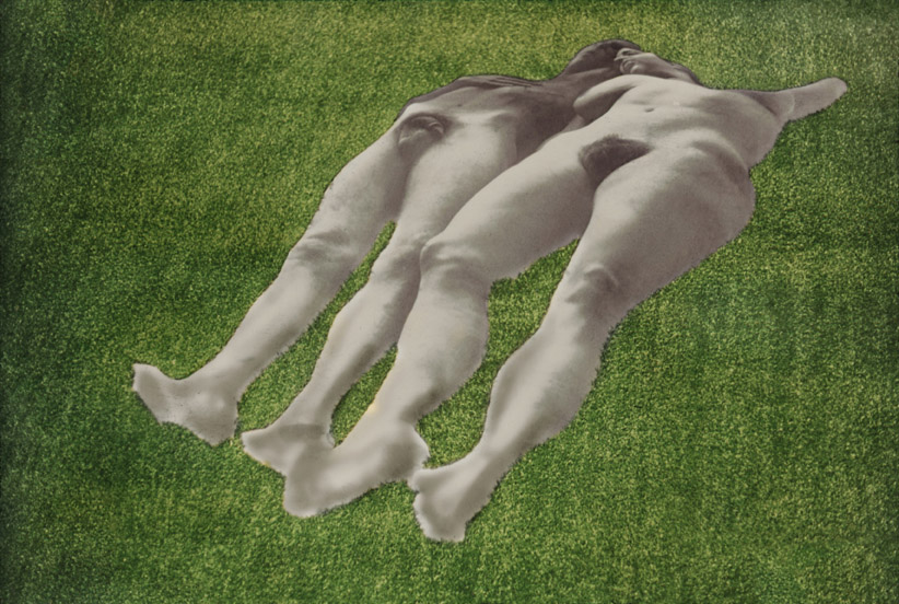 Ellen Brooks, Untitled (Lawn Couple), 1970, Silver print on photo linen, shaped, Astro Turf, 114 x 366 x 366 cm / 44 7/8 x 144 1/8 x 144 1/8 in, © Ellen Brooks, Photo: Ellen Brooks