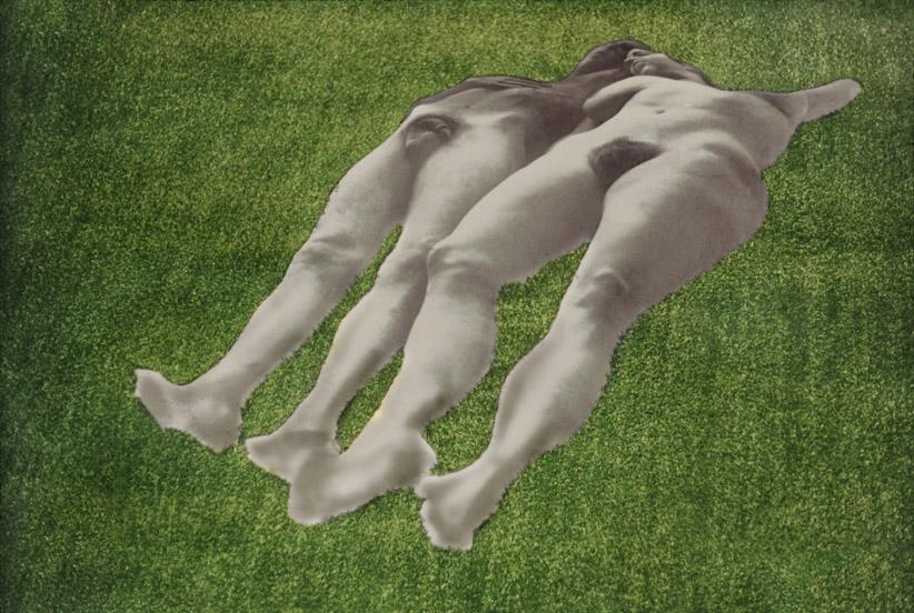 Ellen Brooks, Untitled (Lawn Couple), 1970, Silver print on photo linen, shaped, Astro Turf, 114 x 366 x 366 cm / 44 7/8 x 144 1/8 x 144 1/8 in, © Ellen Brooks, Photo: Ellen Brooks