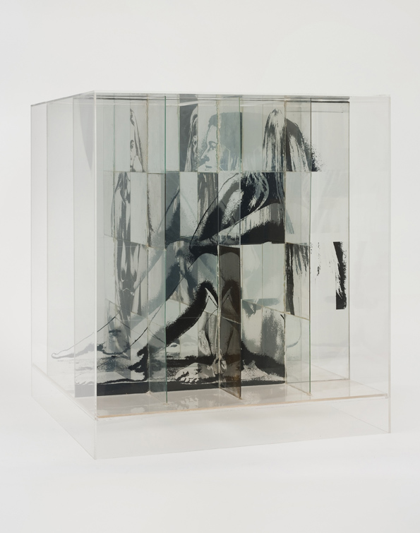 Jack Dale, Untitled Cubed Woman, 1970, Photosensitized glass, Plexiglas, 55.88 x 50.8 x 50.8 cm / 22 x 20 x 20 in, © Jack Dale, Courtesy Cherry and Martin, Photo: Robert Wedemeyer