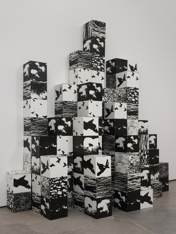 Michael De Courcy, Untitled, 1970 / 2011, 100 Photoserigraph and corrugated cardboard boxes, Dimensions variable, © Michael De Courcy, Courtesy Cherry and Martin, Photo: Robert Wedemeyer