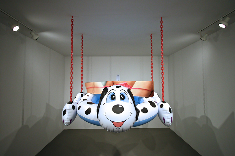Dogpool (Panties), 2003, Polychromed aluminum, acrylic, chromogenic, print, and coated steel chain, 84 x 671/2 x 59 1/2 in. (213.4 x 171.5 x 151.1 cm), Artist's proof, Collection of the artist.