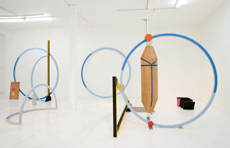 The Working Day, 2012, Ohad Mermomi, Wood, acrylic paint, aluminum, PVC, concrete, paper. Photo: Silvia Ross