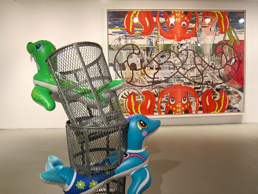 Left: Seal Walrus (Trashcans), 2003, Polychromed aluminum and galvanized steel, 67 x 30 x 36 in. (170.2 x 76.2 x 91.4 cm), Edition no. 1/3, Collection of the artist, Right: Moustache Lobsters, 2003, Oil on canvas, 102 x 138 in. (259.1 x 350.5 cm), Private collection