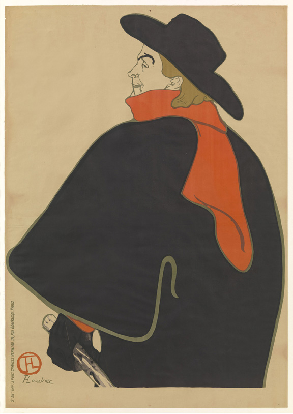 Henri de Toulouse-Lautrec (French, 1864–1901). Aristide Bruant dans son cabaret (Aristide Bruant in His Cabaret). 1893. Lithograph, sheet: 53 9/16 x 37 15/16 in. (136 x 96.3 cm) The Museum of Modern Art, New York. Gift of Emilio Sanchez, 1961