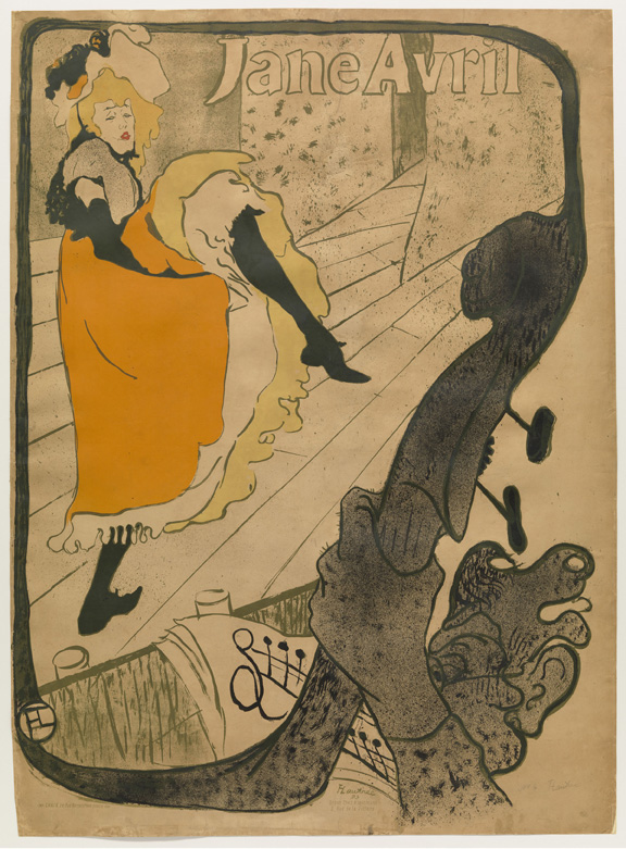Henri de Toulouse-Lautrec (French, 1864–1901). Jane Avril. 1893. Lithograph, sheet: 49 5/8 x 36 1/8 in. (126 x 91.8 cm) The Museum of Modern Art, New York. Gift of A. Conger Goodyear, 1954