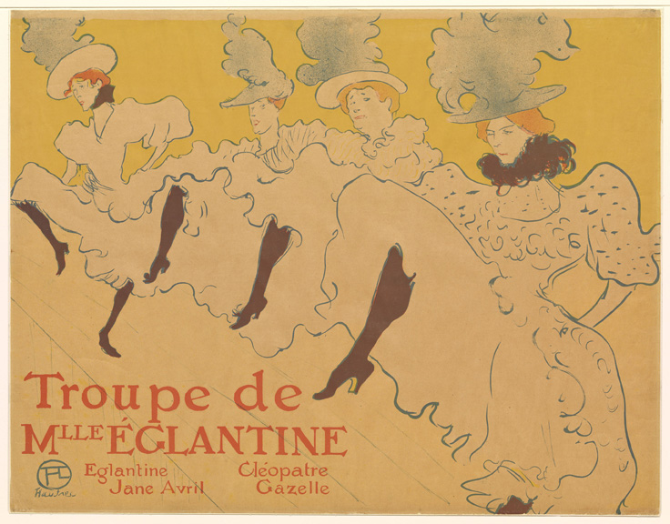Henri de Toulouse-Lautrec (French, 1864–1901). La Troupe de Mademoiselle Églantine (Mademoiselle Églantine's Troupe). 1896. Lithograph, sheet: 24 1/4 x 31 1/4 in. (61.6 x 79.4 cm). The Museum of Modern Art, New York. Gift of Abby Aldrich Rockefeller, 1940
