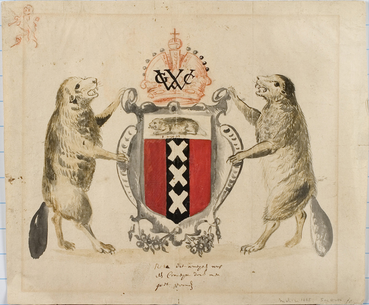 Proposed Coat of Arms for New Amsterdam, ca. 1630. Black ink, wash, watercolor, chalk, gouache. New-York Historical Society, Gift of J. Carson Brevoort