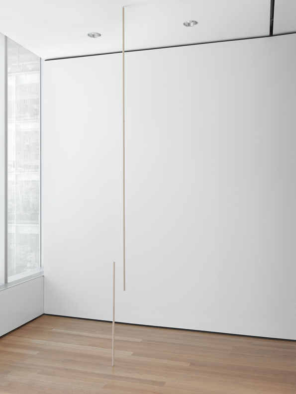 Peter Downsbrough, American, born 1940. Two Poles, 1974. Wood. 88 9/16 x 3/4″ (225 x 1.9 cm) and 41 5/16 x 3/4″ (105 x 1.9 cm). Partial gift of the Daled Collection and partial purchase through the generosity of Maja Oeri and Hans Bodenmann, Sue and Edgar Wachenheim III, Marlene Hess and James D. Zirin, Agnes Gund, Marie-Josée and Henry R. Kravis, and Jerry I. Speyer and Katherine G. Farley. Photograph © 2014 The Museum of Modern Art, New York. Photograph: Thomas Griesel