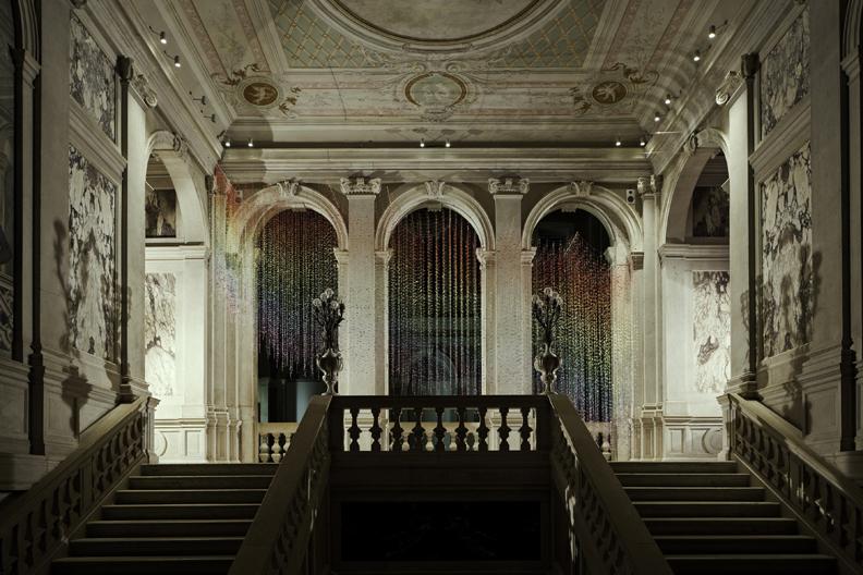 Vidya Gastaldon, Escalator (Rainbow Rain), 2007, Courtesy the artist and Art: Concept, Paris, Pinault Collection. Installation view at Palazzo Grassi 2014 Photo: © Palazzo Grassi, ORCH orsenigo_chemollo