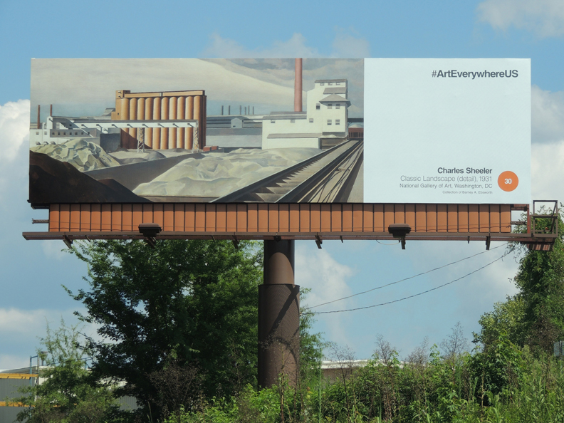 Art Everywhere US billboard in Columbia, South Carolina, featuring Charles Sheeler's Classic Landscape (1931, National Gallery of Art, Washington DC, Collection of Barney A. Ebsworth)