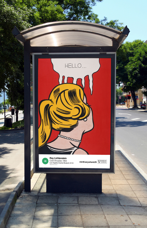 Art Everywhere US rendering, featuring Roy Lichtenstein's Cold Shoulder (1963, Los Angeles County Museum of Art, © Estate of Roy Lichtenstein)