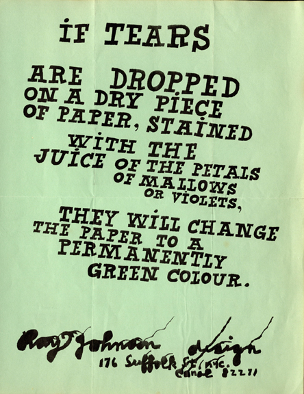 "Ray Johnson. Promotional flyer (""If Tears are Dropped…""). c.1961. The Museum of Modern Art Library, NY."