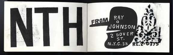 "Ray Johnson. Last page of ""Book of the Month."" 1956. The Museum of Modern Art Library, NY."