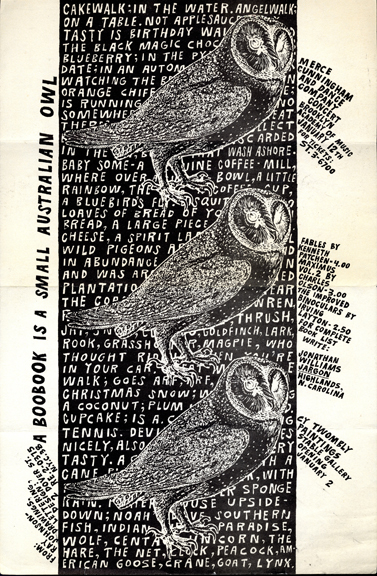 "Ray Johnson. Promotional flyer (""A Boobook is a small Australian Owl""). c.1956. The Museum of Modern Art Library, NY."