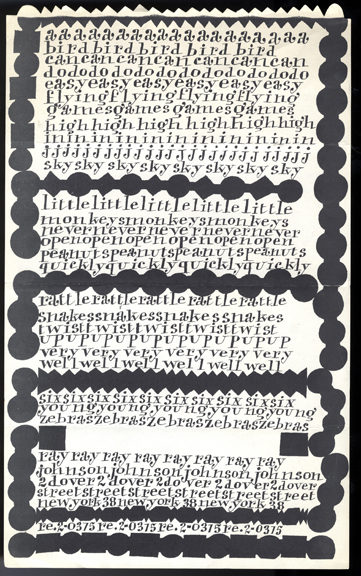 "Ray Johnson. Promotional flyer (""A Bird can do Easy Flying…""). c. 1956-1960. The Museum of Modern Art Library, NY."