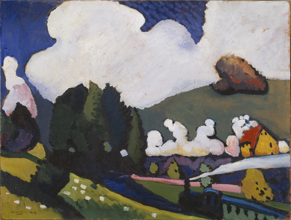 Landscape near Murnau with Locomotive (Landschaft bei Murnau mit Lokomotive), 1909