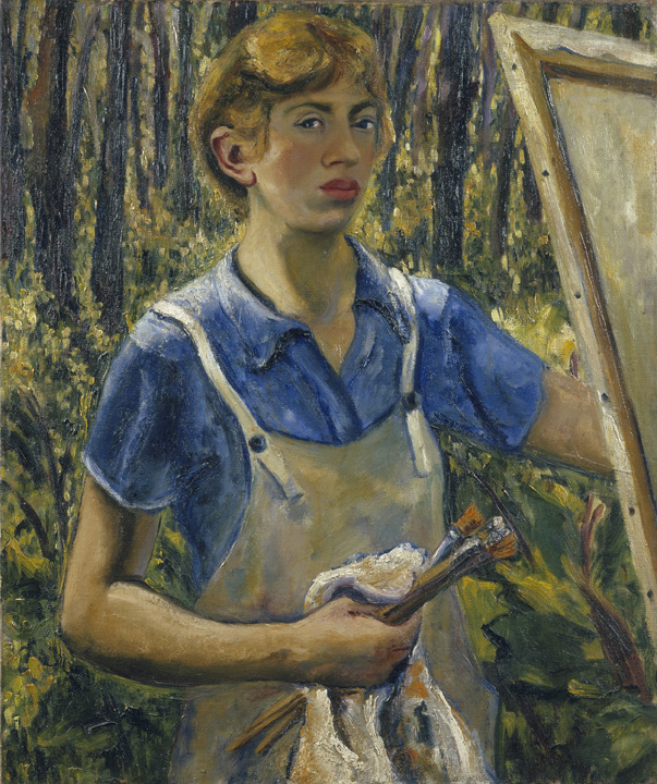 Lee Krasner, Self-Portrait, c. 1930, oil on linen, 30 1/8 x 25 1/8 in. (76.5 x 63.8 cm). The Jewish Museum, New York; Purchase: Esther Leah Ritz Bequest; B. Gerald Cantor, Lady Kathleen Epstein, and Louis E. and Rosalyn M. Shecter Gifts, by exchange; Fine Arts Acquisitions Committee Fund; and Miriam Handler Fund, 2008-32. © 2014 The Pollock-Krasner Foundation / Artists Rights Society (ARS), New York