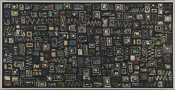 Lee Krasner, Untitled, 1949, oil on canvas, 24 x 48 in. (61 x 121.9 cm). Nancy Margolis King Collection. © 2014 The Pollock-Krasner Foundation / Artists Rights Society (ARS), New York