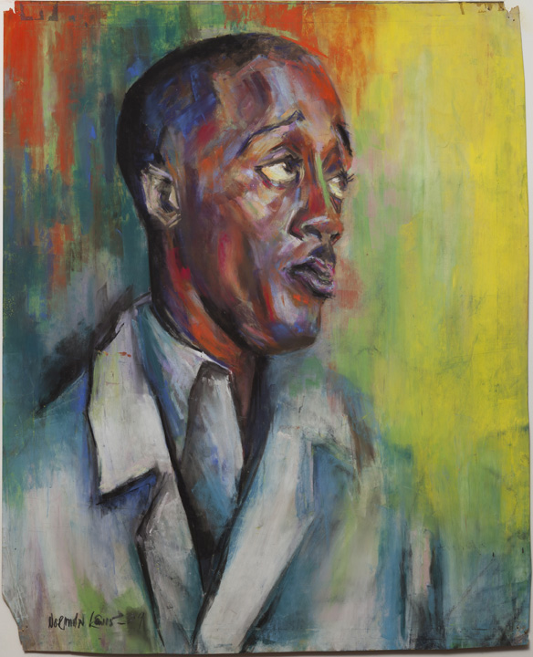 Norman Lewis, Self-Portrait, 1939, wax pastel and gouache on paper, 22 3/4 x 18 1/2 in. (57.8 x 47 cm. Private collection. © The Estate of Norman W. Lewis, Courtesy of Iandor Fine Arts, New Jersey