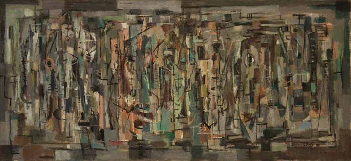 Norman Lewis, Crossing, 1948, oil on canvas, 25 x 54 in. Michael Rosenfeld Gallery. © The Estate of Norman W. Lewis, Courtesy of Iandor Fine Arts, New Jersey