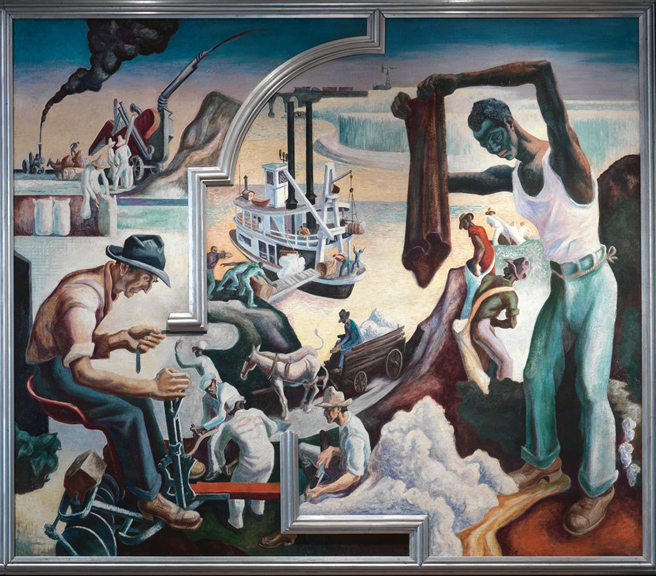 Thomas Hart Benton (American, 1889-1975) Changing West from America Today, 1930–31 Mural cycle consisting of ten panels Egg tempera with oil glazing over Permalba on a gesso ground on linen mounted to wood panels with a honeycomb interior The Metropolitan Museum of Art, Gift of AXA Equitable, 2012