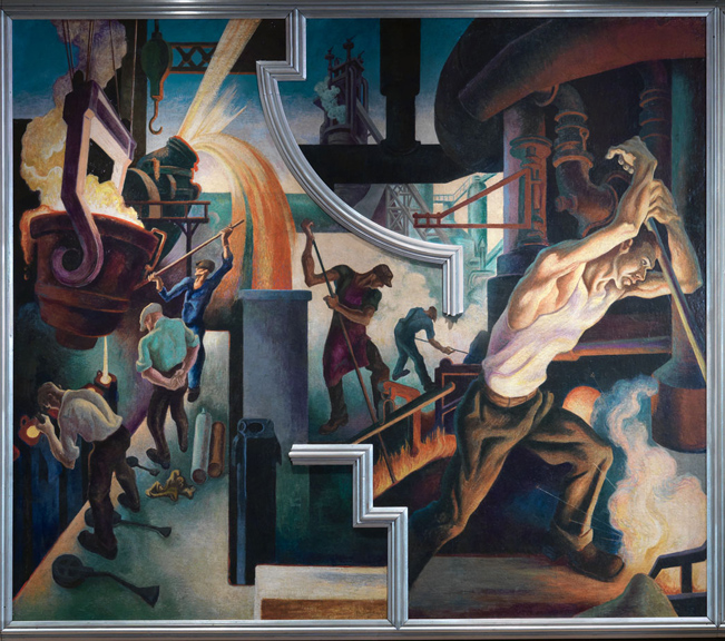 Thomas Hart Benton (American, 1889-1975) Steel from America Today, 1930–31 Mural cycle consisting of ten panels Egg tempera with oil glazing over Permalba on a gesso ground on linen mounted to wood panels with a honeycomb interior The Metropolitan Museum of Art, Gift of AXA Equitable, 2012