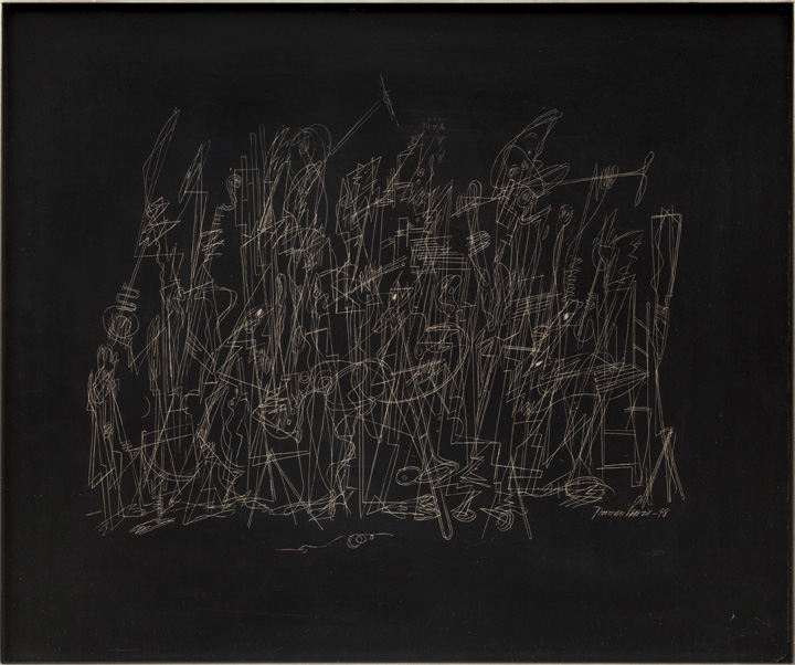 Norman Lewis, Jazz Band, 1948, incised on black coated masonite board, 20 x 23 7/8 in. Private collection. © The Estate of Norman W. Lewis, Courtesy of Iandor Fine Arts, New Jersey