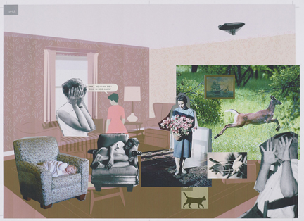 Richard McGuire, Digital sketch for a spread in Here, 2014 © Richard McGuire. The Morgan Library & Museum, Gift of Richard McGuire