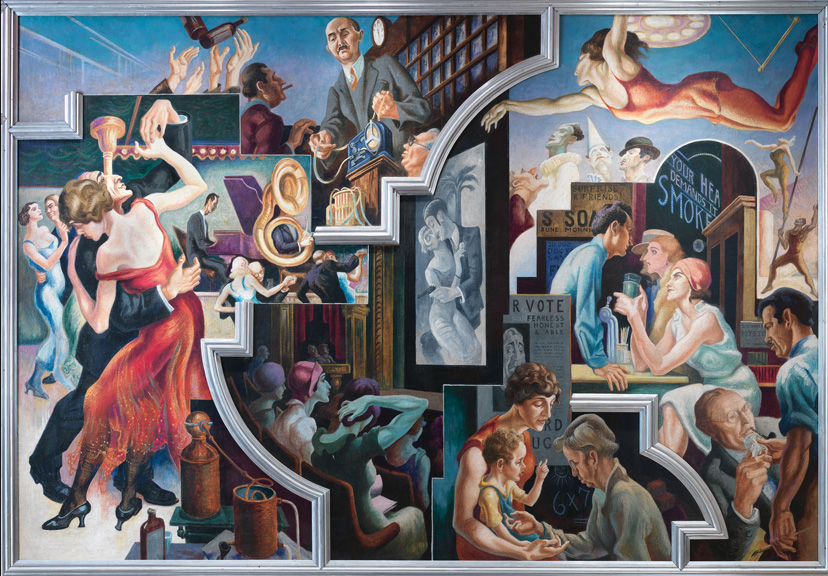 Thomas Hart Benton (American, 1889-1975) City Activities with Dancehall from America Today, 1930–31 Mural cycle consisting of ten panels Egg tempera with oil glazing over Permalba on a gesso ground on linen mounted to wood panels with a honeycomb interior The Metropolitan Museum of Art, Gift of AXA Equitable, 2012
