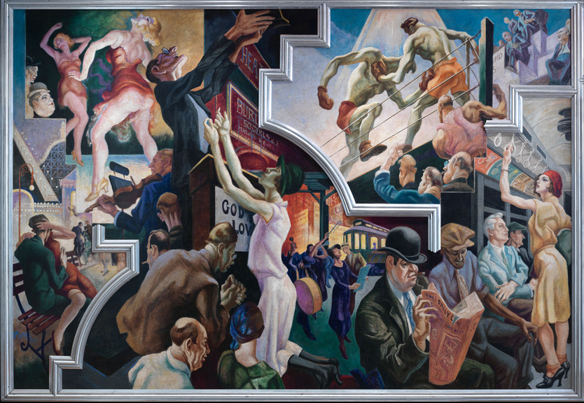 Thomas Hart Benton (American, 1889-1975) City Activities with Subway from America Today, 1930–31 Mural cycle consisting of ten panels Egg tempera with oil glazing over Permalba on a gesso ground on linen mounted to wood panels with a honeycomb interior The Metropolitan Museum of Art, Gift of AXA Equitable, 2012