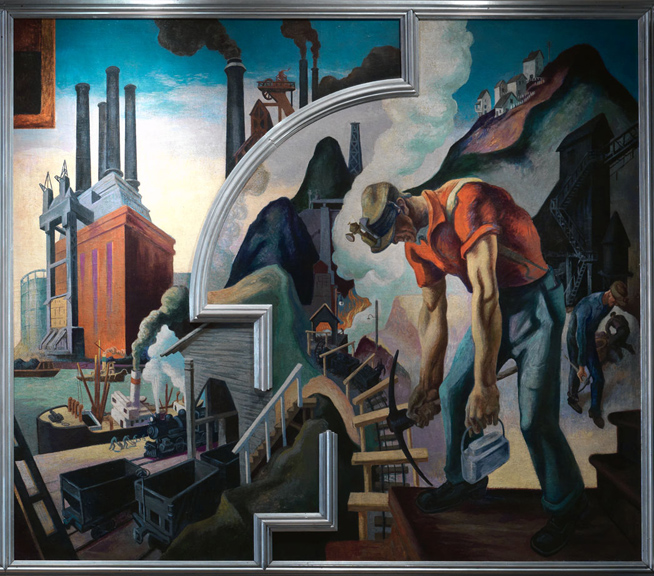 Thomas Hart Benton (American, 1889-1975) City Building from America Today, 1930–31 Mural cycle consisting of ten panels Egg tempera with oil glazing over Permalba on a gesso ground on linen mounted to wood panels with a honeycomb interior The Metropolitan Museum of Art, Gift of AXA Equitable, 2012