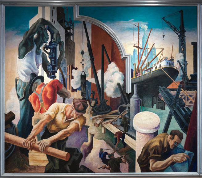 Thomas Hart Benton (American, 1889-1975) Coal from America Today, 1930–31 Mural cycle consisting of ten panels Egg tempera with oil glazing over Permalba on a gesso ground on linen mounted to wood panels with a honeycomb interior The Metropolitan Museum of Art, Gift of AXA Equitable, 2012