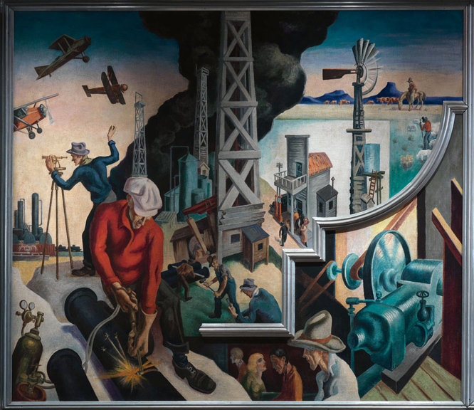 Thomas Hart Benton (American, 1889-1975) Deep South from America Today, 1930–31 Mural cycle consisting of ten panels Egg tempera with oil glazing over Permalba on a gesso ground on linen mounted to wood panels with a honeycomb interior The Metropolitan Museum of Art, Gift of AXA Equitable, 2012