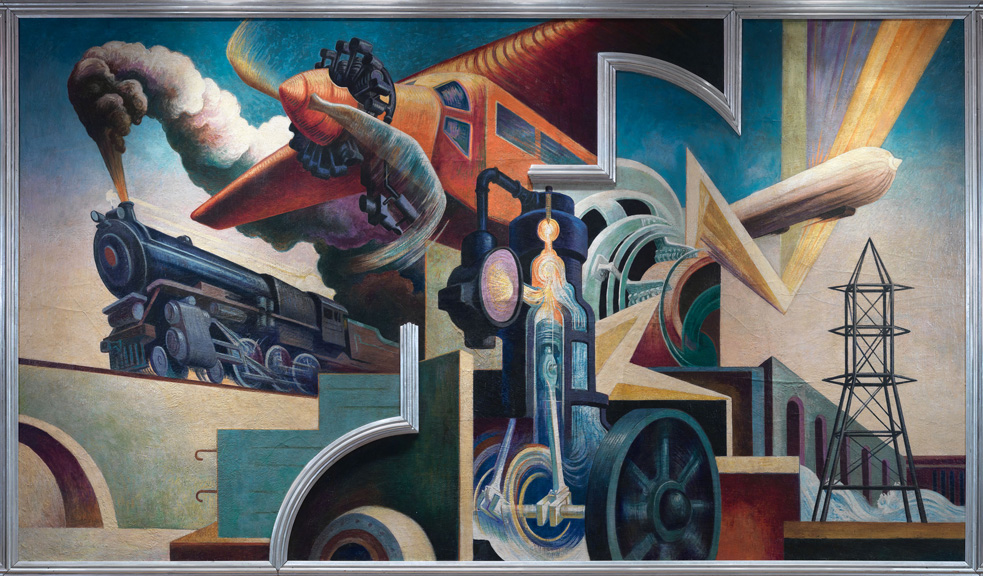 Thomas Hart Benton (American, 1889-1975) Instruments of Power from America Today, 1930–31 Mural cycle consisting of ten panels Egg tempera with oil glazing over Permalba on a gesso ground on linen mounted to wood panels with a honeycomb interior The Metropolitan Museum of Art, Gift of AXA Equitable, 2012