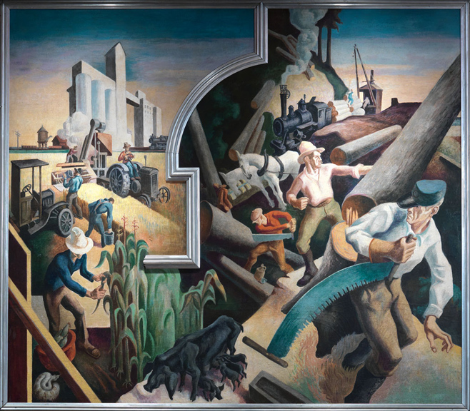 Thomas Hart Benton (American, 1889-1975) Midwest from America Today, 1930–31 Mural cycle consisting of ten panels Egg tempera with oil glazing over Permalba on a gesso ground on linen mounted to wood panels with a honeycomb interior The Metropolitan Museum of Art, Gift of AXA Equitable, 2012