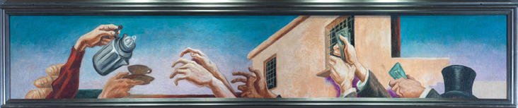 Thomas Hart Benton (American, 1889-1975) Outreaching Hands from America Today, 1930–31 Mural cycle consisting of ten panels Egg tempera with oil glazing over Permalba on a gesso ground on linen mounted to wood panels with a honeycomb interior The Metropolitan Museum of Art, Gift of AXA Equitable, 2012