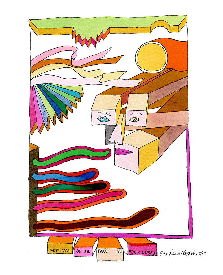Barbara Nessim. Festival of the Face in Four Cubes, 1967. Pen and ink, watercolor. Courtesy of the artist.