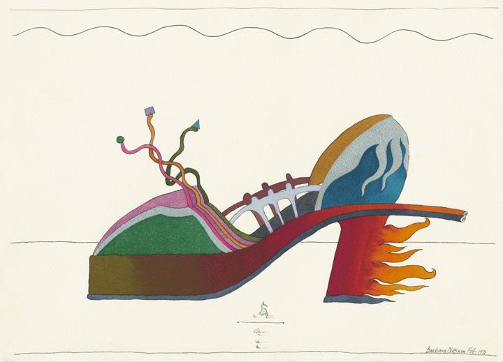 Barbara Nessim. Fire Engine Heel, 1971. Pen and ink, watercolor. Victoria & Albert Museum, E.38-2013.