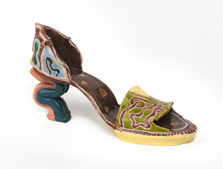 Barbara Nessim. Shoe Sculpture, 1972–73. Hand-built white earthenware, with incised decoration and colored glazes. Victoria & Albert Museum, C.1-2013.
