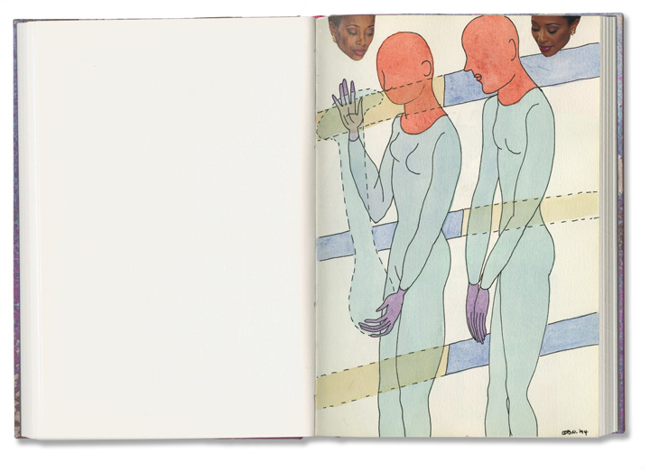 Barbara Nessim. Sketchbook no. 62, 1994. Pen and ink, watercolor, collage. Courtesy of the artist.