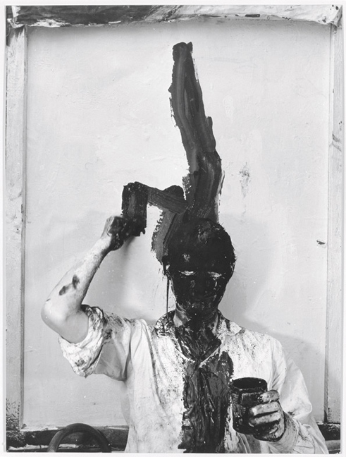 Günter Brus, Selbstbemalung I (Kopfzumalung) [Self-Painting I (Total Head Painting)], 1964, Gelatin silver print on baryta paper, 30 x 23 cm / 11 3/4 x 9 in. © Günter Brus, Courtesy Collection Hummel, Vienna and Galerie Krinzinger, Vienna. Photo: Ludwig Hoffenreich
