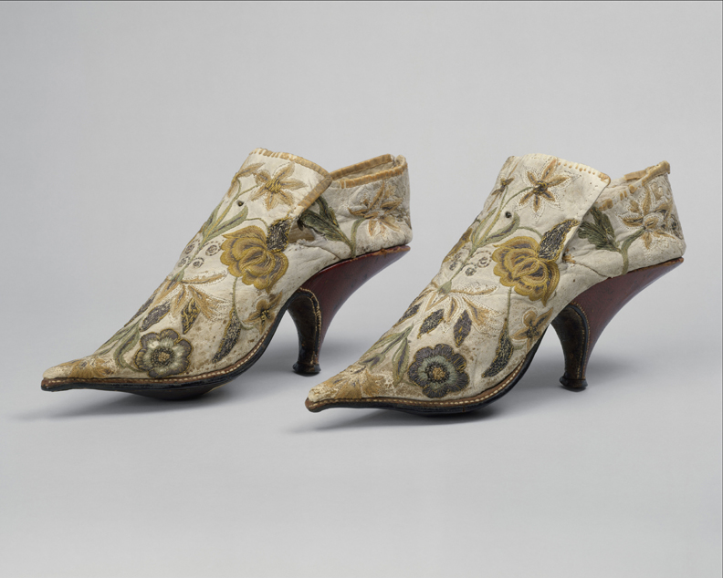 French. Shoes, 1690–1700. Silk, leather. The Metropolitan Museum of Art, New York, Rogers Fund, 1906 (06.1344a, b). Image copyright © The Metropolitan Museum of Art. Image source: Art Resource, NY