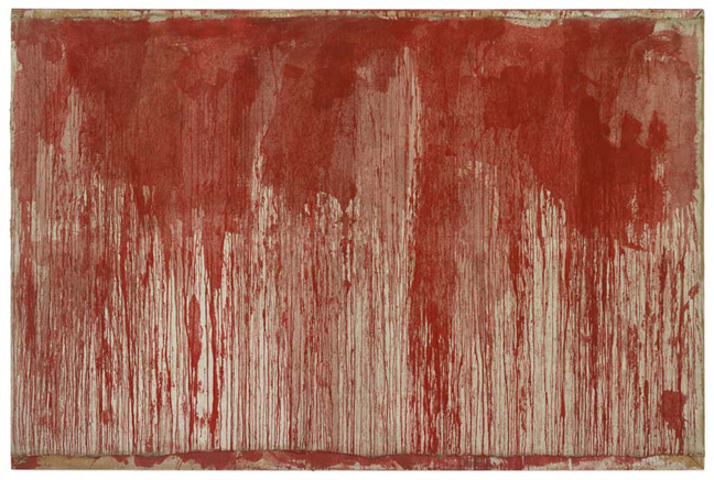 Hermann Nitsch , Kreuzwegstation (Station of the Cross), 1961, Dispersion on canvas, 190 x 297 cm / 74 3/4 x 116 7/8 in, © ARS, NY Photo: Stefan Altenburger Photography Zürich
