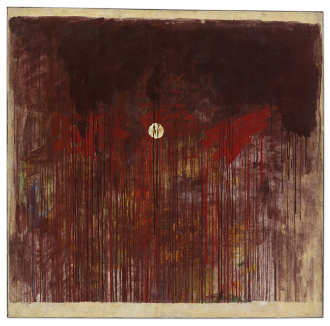 Hermann Nitsch , Brot und Wein (Bread and Wine), 1961, Tempera and dispersion on wall plaster on canvas on fiberglass board, 147.2 x 150 x 2.8 cm / 58 x 59 x 1 1/8 in © ARS, NY. Photo: Stefan Altenburger Photography Zürich
