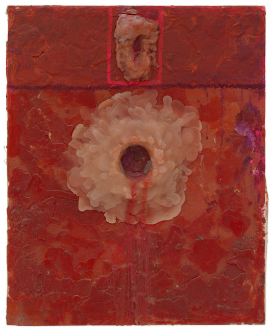 Hermann Nitsch, Untitled, 1960, Multicoloured wax, chalk and lipstick on hardboard, 58.5 x 47.5 x 4.5 cm / 23 x 18 3/4 x 1 3/4 in, © ARS, NY. Photo: Stefan Altenburger Photography Zürich