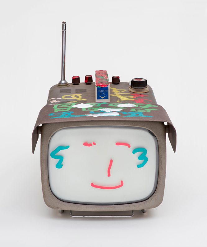 Transistor Television, 2005. Permanent oil marker and acrylic paint on vintage transistor television. 12½ x 9½ x 16 in. (31.8 x 24.1 x 40.6 cm). Nam June Paik Estate. Photo credit: Ben Blackwell
