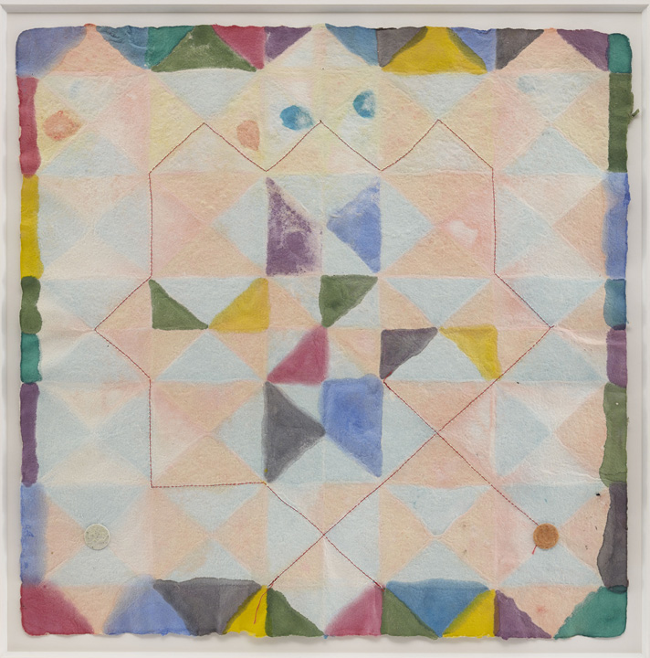 Alan Shields, Colors in Clay, 1988, Watercolor, stitching on handmade paper, 18 x 18 inches. Courtesy of the Estate and Van Doren Waxter.